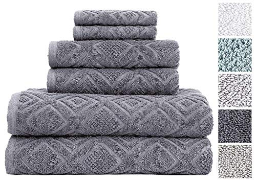 Classic Turkish Towels 6 Piece Cotton Bath Towel Set - Luxurious Soft and Thick Bath Towels 600 GSM Made with 100% Turkish Cotton - Gemstone Towel - Bath Complete Sets