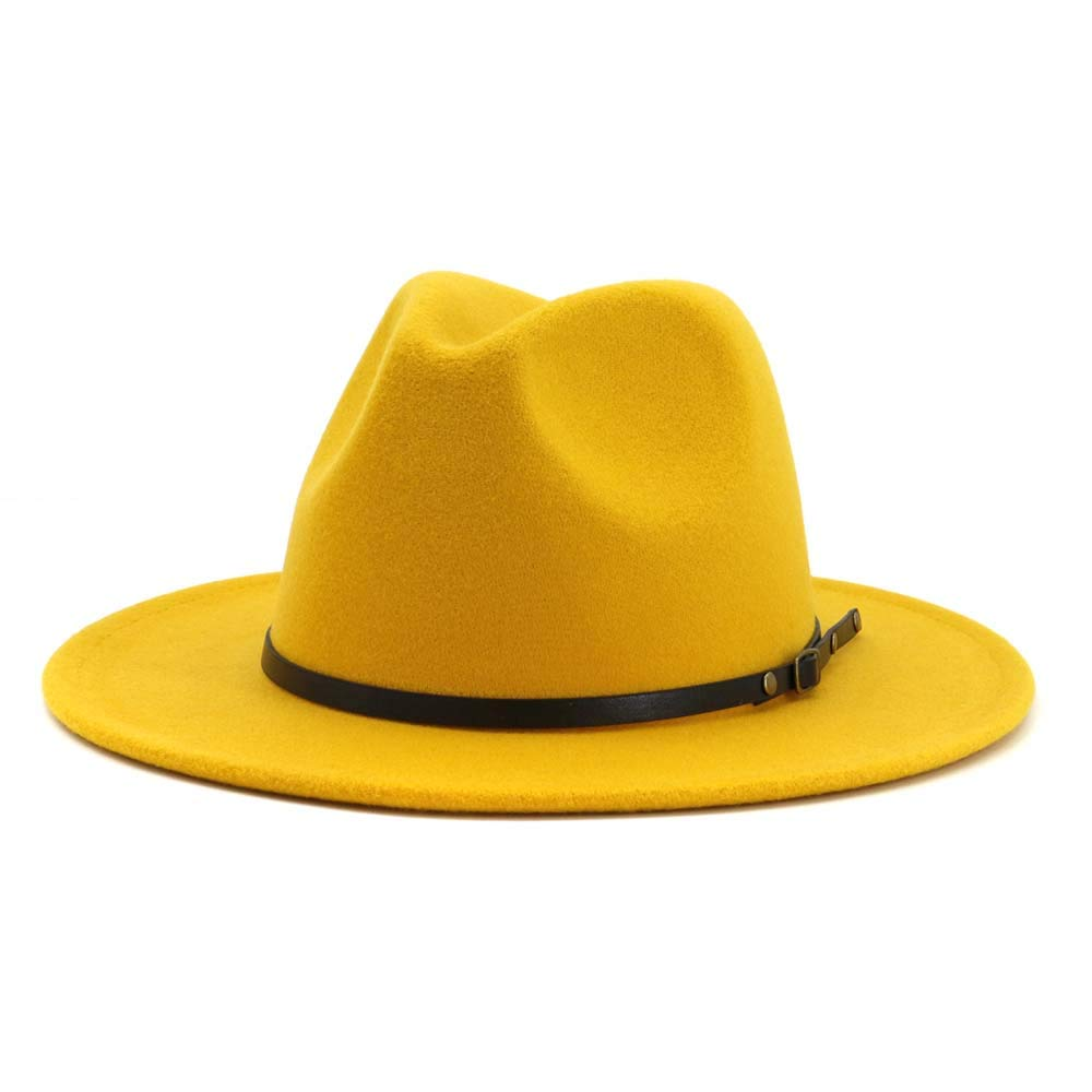 HUDANHUWEI Women's Classic Wide Brim Fedora Hat with Belt Buckle Felt Panama Hat (Yellow) by HUDANHUWEI