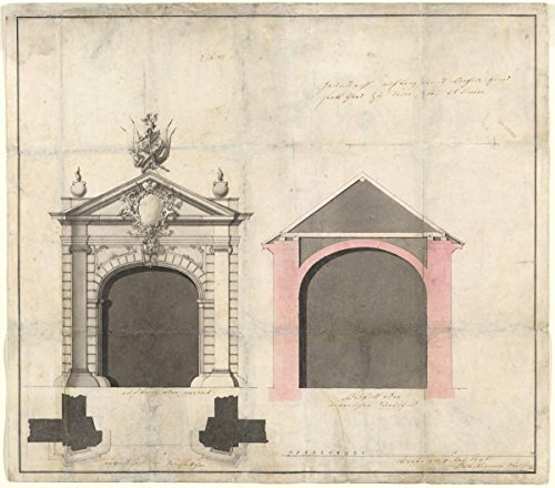 Artist: Balthasar Neumann | Drawing: Design for a City Gate in Trier | Date: 1746 | Vintage Fine Art Print by historic pictoric