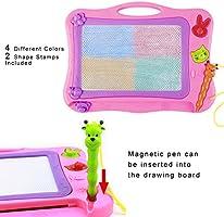 DUTISON Pizarra Magnética Colorido Almohadilla Borrable de Escritura y Dibujo con Pluma para Niños Portátil Tamaño 31 x 21.5 cm (Rosado 001)
