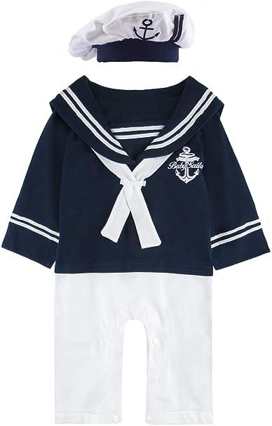 Anywow Unisex Neugeborenes Baby Matrose Spielanzug S/äugling M/ädchen Jungen Strampler Marine Navy Bodysuit Onesie Overall
