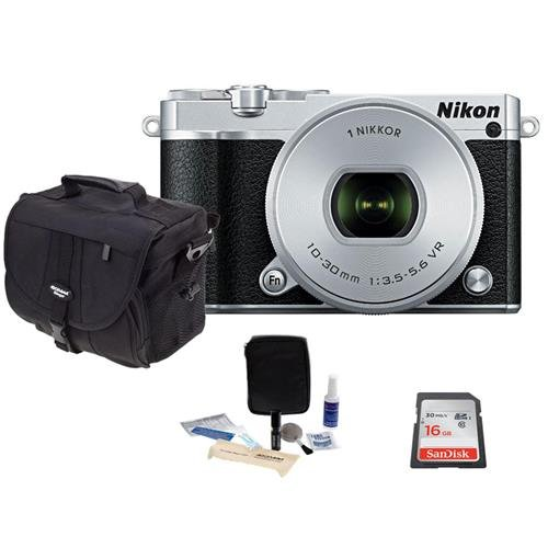 Nikon-1-J5-Mirrorless-Digital-Camera-with-1-NIKKOR-10-30mm-VR-Lens-Silver-Bundle-with-Camera-Case-16GB-Class-10-Micro-SDHC-Card-Cleaning-Kit
