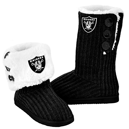 Forever Collectibles NFL Football Ladies Knit High End Button Boot Slippers - Black (Oakland Raiders, Medium) from Forever Collectibles