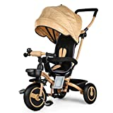 Fascol 4 in 1 Childrens Folding Tricycle for 6 Months to 5 Years Foldable 3 Wheel Push Trikes Maximum Weight 30 kg, Gold