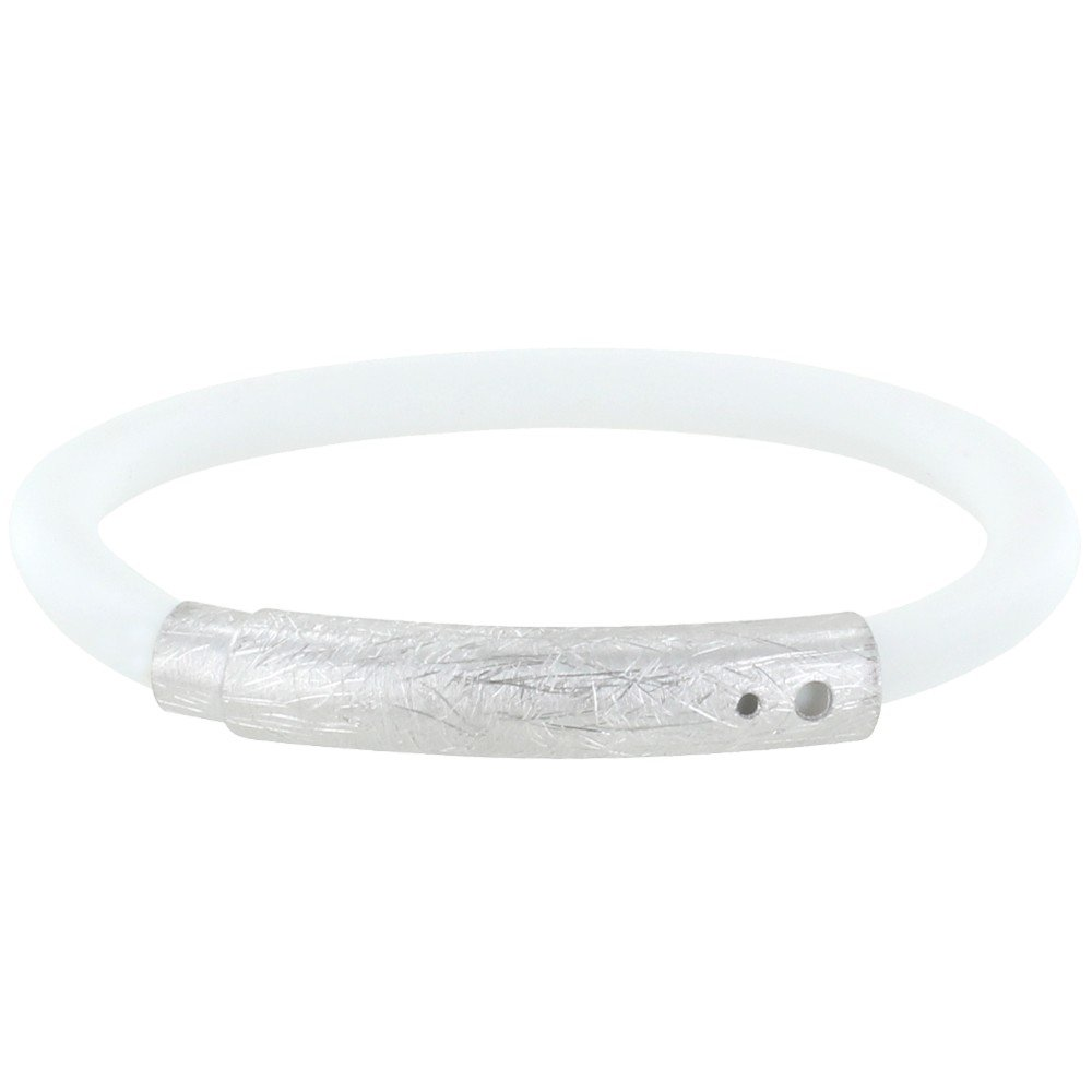 Les Poulettes Jewels - Brushed Silver Bracelet and White Silicone