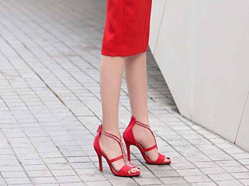 à talons hauts Strass GLTER Sandales CM talons à Rome Chaussures 43 hauts 40 Taille Rouge Suede Femmes 10 Hvg7qHP