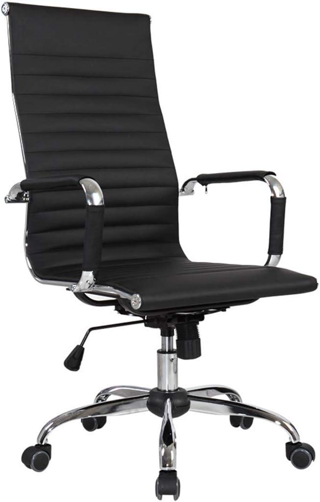 コンピュータチェアホームオフィスチェアE-スポーツシート人間工学に基づいた回転椅子会議チェアスタッフチェア、内蔵の高品質なストレッチコットン (Color : BLACK, Size : 48*48*115CM)