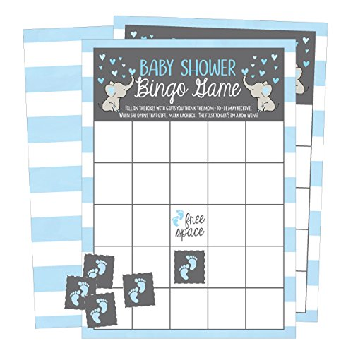 25 Blue Elephant Bingo Game Cards For Boy Baby Shower, Bulk Blank Bingo Squares, PLUS 25 Pack of Baby Feet Game Chips, Funny Baby Party Ideas and Supplies, Cute Kids Animal Woodland Paper Pattern]()