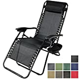 Sunnydaze Black Zero Gravity Lounge Chair with Pillow and Cup Holder
