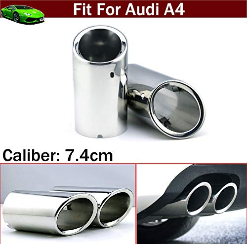 (OEM 2pcs Stainless Steel Exhaust Muffler Rear Tail Pipe Tip Tailpipe Extension Pipes Custom Fit For Audi A4 B8 2009 2010 2011 2012 2013 2014 2015 2016 2017)