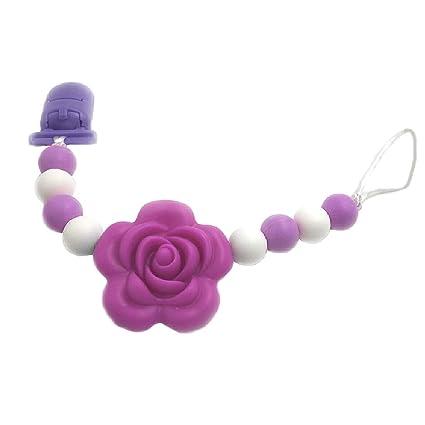 MIsha Cadena chupetes silicona personalizado flor Juguete para Bebé ...