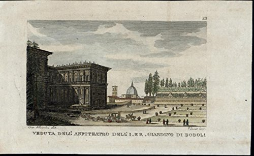 (Amphitheater Boboli Gardens nice Florence Italy scarce old c. 1822 view print)
