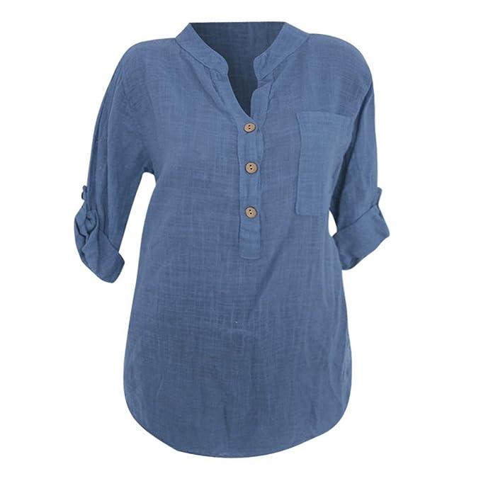 ec598a55070b8 SEWORLD 2018 Damen Mode Sommer Herbst Schal Translucent Casual Knopf Tasche  Lose Langarmshirts Shirt Bluse: Amazon.de: Bekleidung