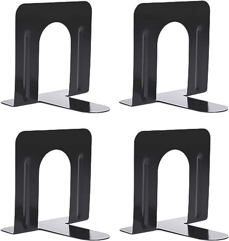 casa scuola ufficio Xiaoyu fermalibri pesanti per ripiani nero 2 coppie 4,72 x 4,72 x 4,72 pollici base antiscivolo adatti per biblioteca