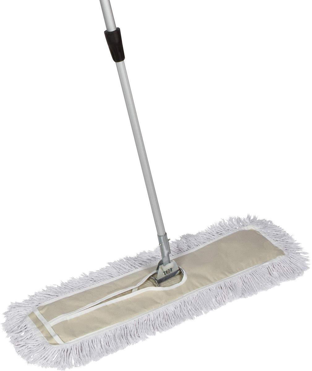 Tidy Tools 30 Inch Industrial Strength Cotton Dust Mop with Extendable Metal Telescopic Handle and Frame. 30'' X 5'' Wide Mop Head with Cut Ends