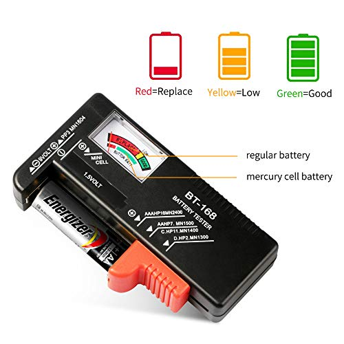 Battery Tester, VTECHOLOGY Model BT-168 Battery Checker for AA AAA C D 9V 1.5V Button Cell Batteries (Requires No Battery for Operation) by VTECHOLOGY (Image #3)
