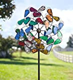 Outdoor Multi-Colored Plume Metal Garden Wind Spinner Yard Sculpture 24 dia. x 9 D x 75 H