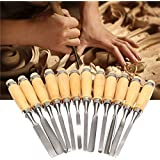 Okayji Wood Carving Hand Chisel Tool Set Professional Woodworking Gouges Steel, 12-Piece