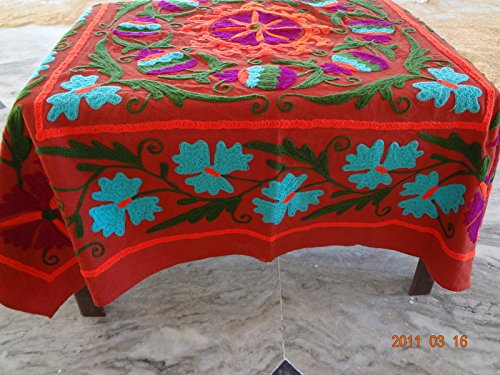44' Dining Table (Handicraftofpinkcity Red Color Suzani Embroidered Table Cover 44x44'' Size Squire Shape Table Runner Dining Table Cover Ssth04)