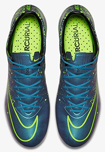 Nike Mercurial Vapor X FG Botas de fútbol de entrenamiento, Hombre Azul / Blanco / Negro / Verde (Squadron Blue / Sqdrn Bl-Blk-Vlt)