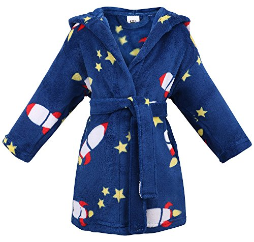 ARCTIC Paw Winter Hooded Bathrobe Fluffy Sleep Robe for Boys & Girls,Rocket,L]()
