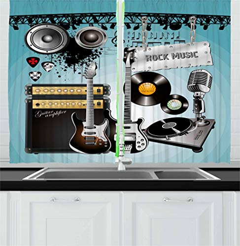 (Ambesonne Rock Music Kitchen Curtains, Concert Pattern Guitars and Records with Giant Speakers Ornamental Arrangement, Window Drapes 2 Panel Set for Kitchen Cafe, 55 W X 39 L Inches, Multicolor)