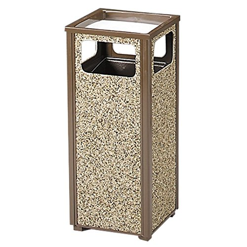 Rubbermaid Steel Stone Panel Receptacle - Combination Trash Receptacle/Sand Urn - 12-Gallon Capacity - Brown Frame/Desert Brown Panels (Stone Panel Aggregate)