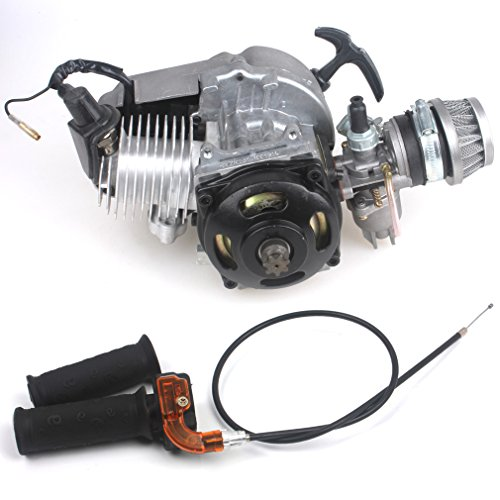 47CC 2-stroke Engine + Handle Bar + Throttle Cable Motor Pocket Mini Bike Scooter ATV 7T 25H Chain 40MM Bore Aluminum Starter