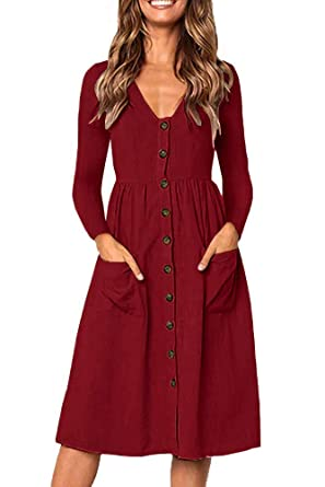 8014cd5f4c8d Casual Midi Dresses for Women V Neck T Shirt Dress Long Sleeve A-Line Swing  Button Down Tunic Dress with Pockets  Amazon.co.uk  Clothing