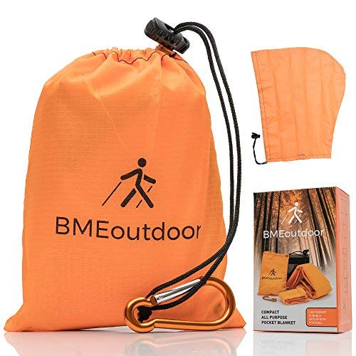 BMEoutdoor Pocket Camping and Hiking Blanket Ripstop Waterproof Outdoor Tarp for Beach, Picnic, Sports with Carry Bag + Detachable Rain Hood + eBook with Advice for Surviving in The Open