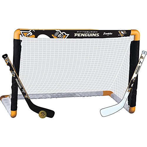 (Franklin Sports Pittsburgh Penguins Mini Hockey Knee Hockey Goal, Ball & 2 Stick Combo Set - 28