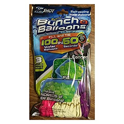 Zuru Bunch O Balloons, 3 different colors, Fill in 60 Seconds, 100 Total Water: Toys & Games