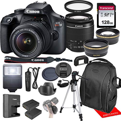 Canon Rebel T100 / EOS 4000D w/Canon EF-S 18-55mm F/3.5-5.6 III Zoom Lens & Professional Accessory Bundle W/ 128GB Memory Card & Back-Pack Case & Spare Battery & More