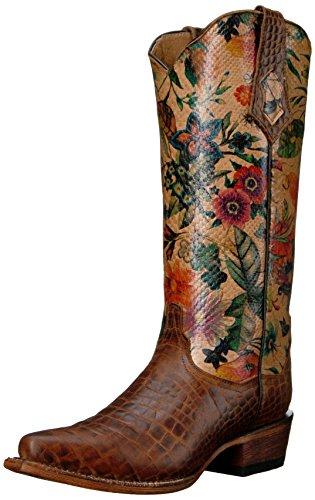 Ferrini Women's Ladies Print Belly Gator Vintage Brown V-Toe Western Boot