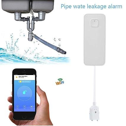 belukies Alarma inalámbrica de Fugas de Agua WiFi Sensor de Agua con batería de Litio -