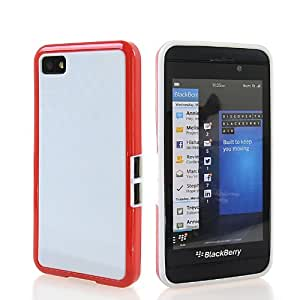 KCASE Flexible Gel TPU Soft Silicone Back Case Cover For Blackberry Z10 BB 10 White Red