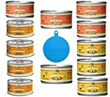 Merrick Grain Free Canned Dog Food 3 Flavor Variety Bundle (12 Cans, 3.2 Ounces Each) Plus 1 Silicone Dog/Cat Food Can Cover - 13 Items Total
