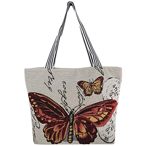 Shopping bags Beach Bag Canvas Butterfly Travel Tote Bag Women and Girls Large Shoulder Bag (burgundy&Multicoloured)