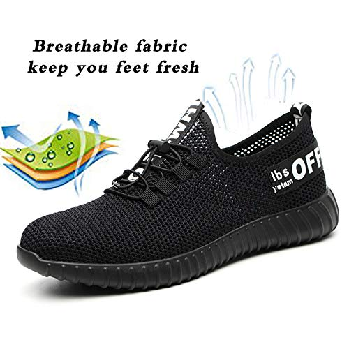 e61a8cd2fe989 JACKSHIBO Steel Toe Indestructible Work Shoes for Men Women Lightweight  Mesh Safety Industrial Construction Shoes