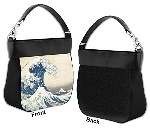 Trim Wave Hobo Purse w Leather Kanagawa Front Great Genuine of OnFZWwq18