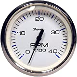 Faria Chesapeake White SS 4'' Tachometer - 4,000 RPM (Diesel - Magnetic Pick-Up)