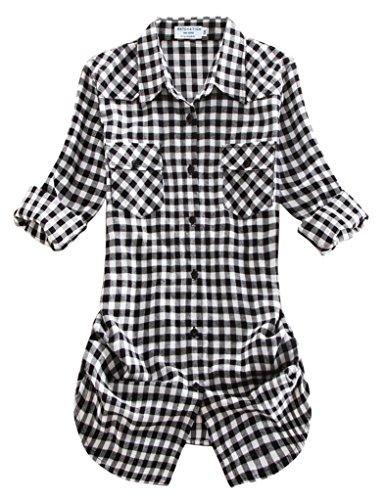 Match Mujer Camisa Tartán Franela #B003 2021 Checks#12