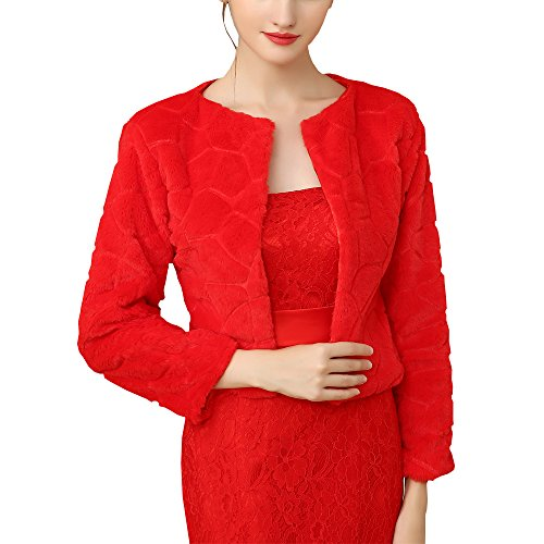 BiYiGe White Red Women's Autumn Winter O Neck Warm Fluffy Faux Fur Coat Jacket Cardigan (Red) (Lining Fur Silk Trim)