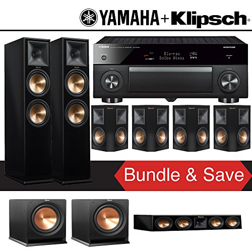 Klipsch RP-280F 7.2-Ch Reference Premiere Home Theater System (Piano Black) with Yamaha AVENTAGE RX-A1070BL 7.2-Channel Network A/V Receiver
