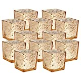 Just Artifacts Mercury Glass Square VotiveCandle Holder 2'' H(12pcs,Speckled Gold) - Mercury Glass Votive Tealight Candle Holders for Weddings, Parties and Home Décor