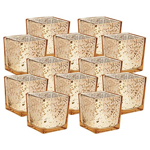 Just Artifacts Mercury Glass Square VotiveCandle Holder 2-Inch(12pcs,Speckled Gold) - Mercury Glass Votive Tealight Candle Holders for Weddings, Parties and Home Décor