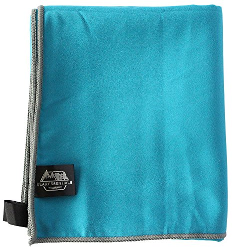 Bear Essentials Camping Towel, Sports Towel, Beach Towel, Microfiber Towel, Ultra Durable, Lightweight, Quick Dry, Anti-Bacterial, Machine Washable, Ultra-Absorbent (Teal/Gray, - Camping Essentials Beach