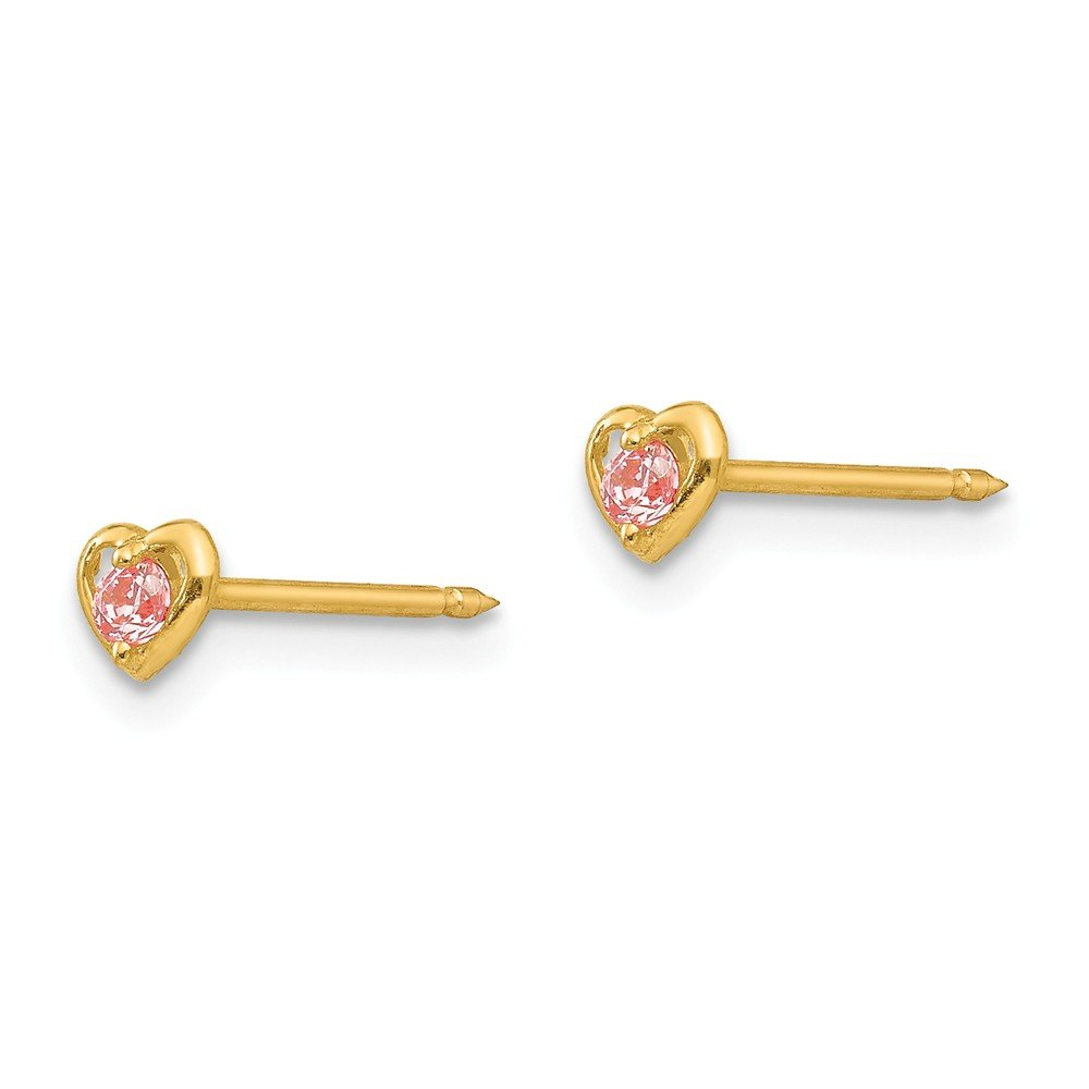14K Yellow Gold Childrens Inverness 5 MM Heart with Pink CZ Stud Earrings