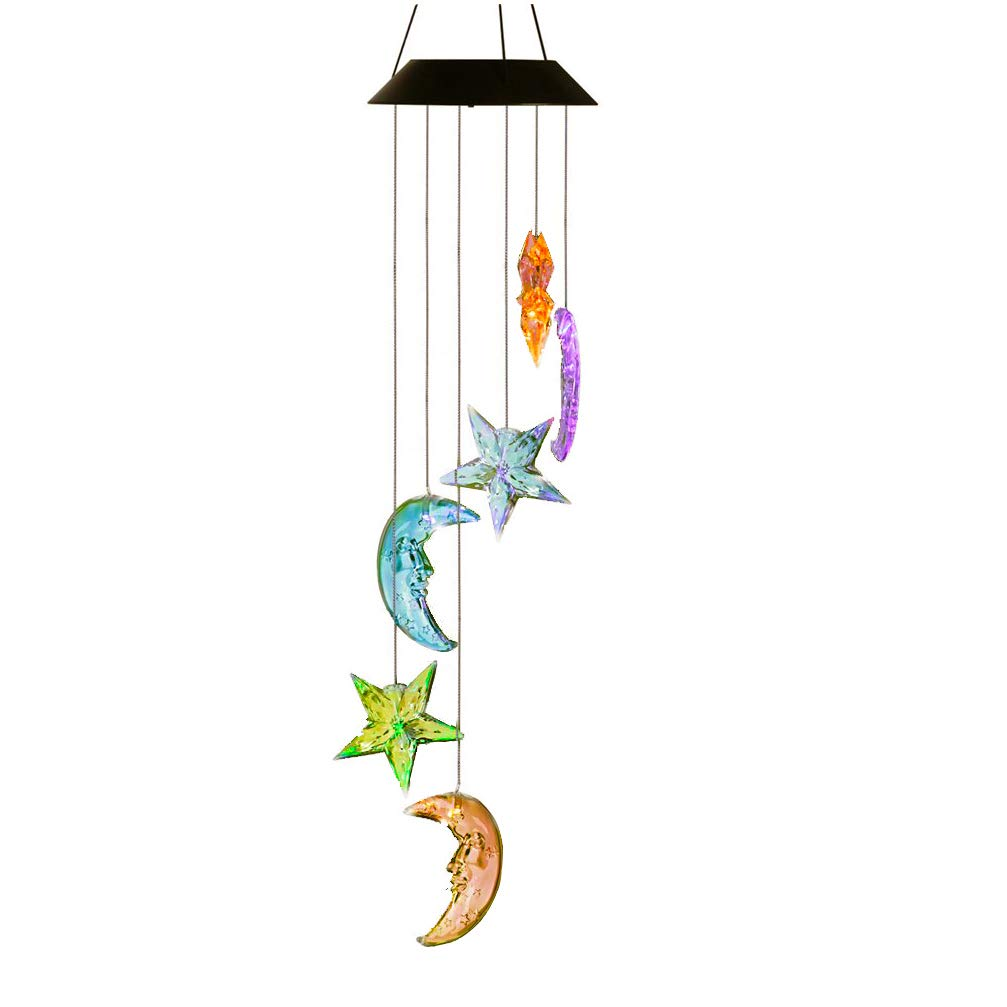 AceList Solar Light Outdoor Decor Ramadan Moon Stars Wind Mobile, Spiral Spinner Changing Color Outdoor Decorative Light Windbell for Patio Deck Yard Garden Home Pathway