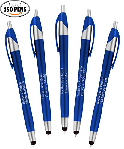 Personalized Writing Ink Ballpoint Novelty Pens, Custom Printed with Your Logo & Text ''Click to Write - Click for Stylus Tip!'' Works with Android, iPhone, iPads (Pack of 150 Pens - Blue Barrels) by 911PENS